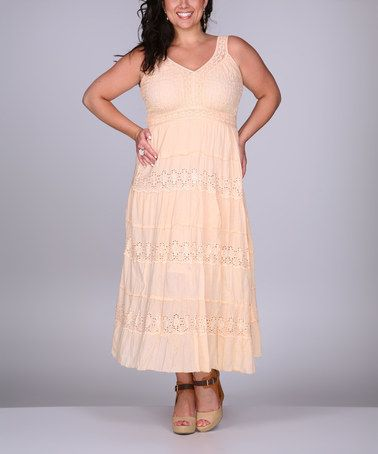 Look what I found on #zulily! Peach Flower Eyelet Sleeveless Dress - Plus by Ananda's Collection #zulilyfinds