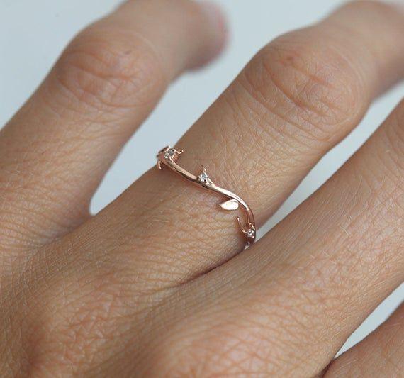 Diamond Ring, 14k Rose Gold Wedding Band, 18k Floral Ring, Platinum Stacking Ring, Twig Ring, Diamond Wedding Ring, Leaf Ring  – minimal rings