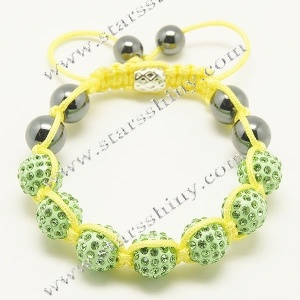 10mm round alloy fern green rhinestone & agate beads adjustable shamballa bracelet wholesale    Material: alloy, rhinestone beads, agate beads    Wear Length: from 7 to 10 inches