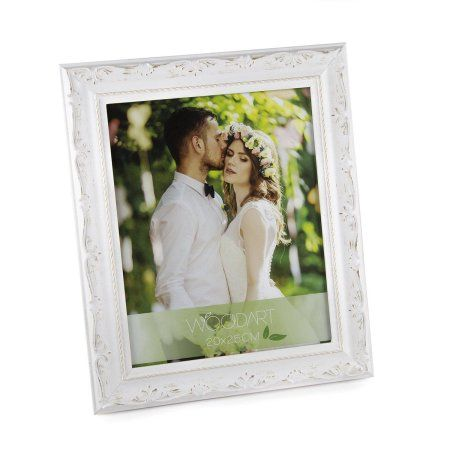 Woodart White Distressed Ornate Wood Picture Frame Wedding Photo Frame 5 inch-Inches x 7 inch-Inches