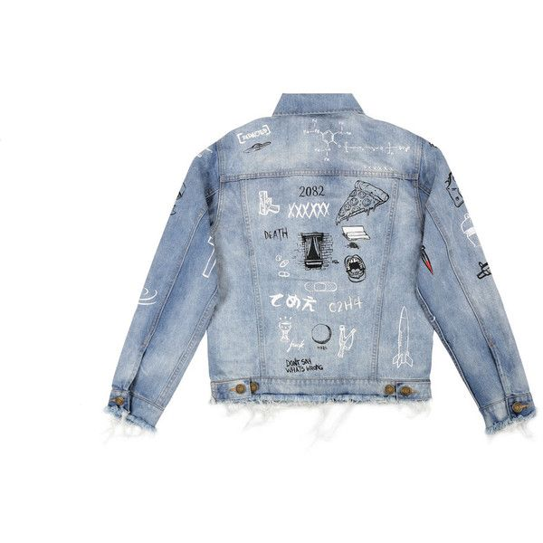 """C2H4 x HIYASET"" GRAFFITI DENIM JACKET (1,070 ILS) ❤ liked on Polyvore featuring outerwear, jackets, jean jacket, blue jean jacket, distressed denim jacket, blue jackets and distressed jacket"