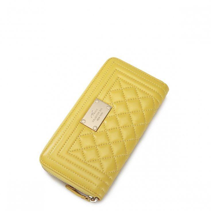 Damski portfel koperta w kolorze cytrynowym