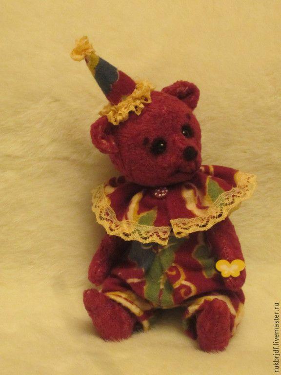 Купить Фокусник - бордовый, мишка, мишка ручной работы, клоун, медведь, цирк
