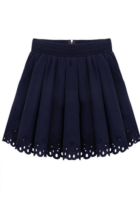 Dark+Blue+Elastic+Waist+Zipper+Pleated+Skirt+US$32.74