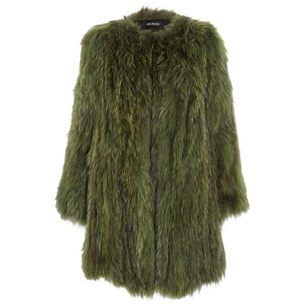 Hugau Racoon pelsjakke (€1.000) ❤ liked on Polyvore featuring outerwear, coats, jackets, fur, army, long sleeve coat, fur coat, mid length coat, army green coat and green fur coat