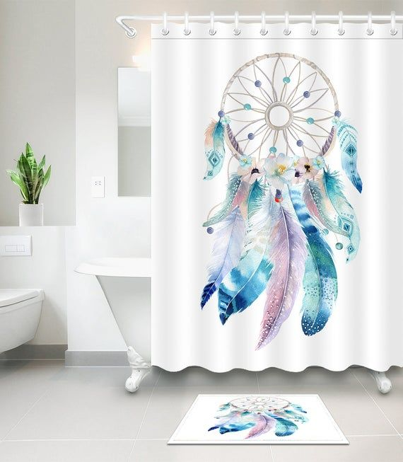 3d Colorful Feather Shower Curtain Bath Mat For Bathroom Fiber