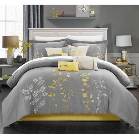 Chic Home Nits 12 Piece Comforter Set Embroidered Floral Design Bed in a Bag Bedding - Sheets Bed Skirt Decorative Pillow Shams Included, King Yellow