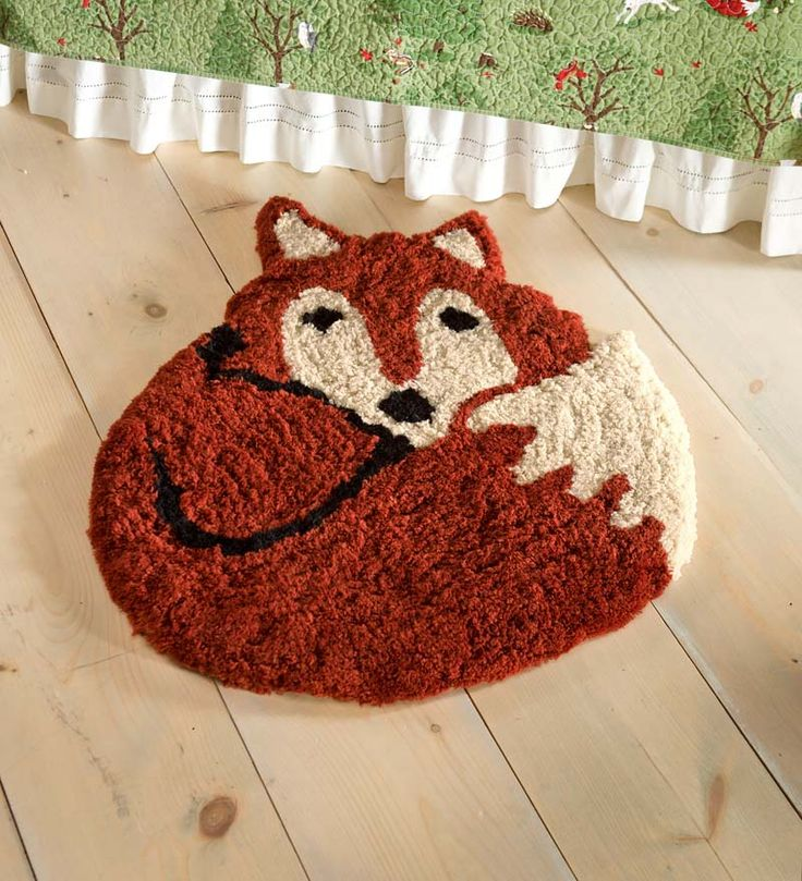 Washable Woodland Friends Fox Rug coordinates with Woodland Friends flannel sheets, quilt sets and shower curtain. So cute!