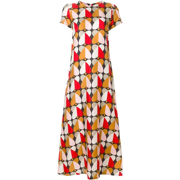 La Doublej long length patterned swing dress (14 045 UAH) ❤ liked on Polyvore featuring dresses, pink dress, tent dress, long silk dress, print dress and trapeze dress
