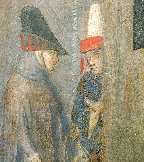Ambrogio Lorenzetti - Due cavalieri in strada (Gli Effetti del Buono Governo in città) - affresco - 1338-1339 - Siena - Palazzo Pubblico, Sala dei Nove o Sala della Pace
