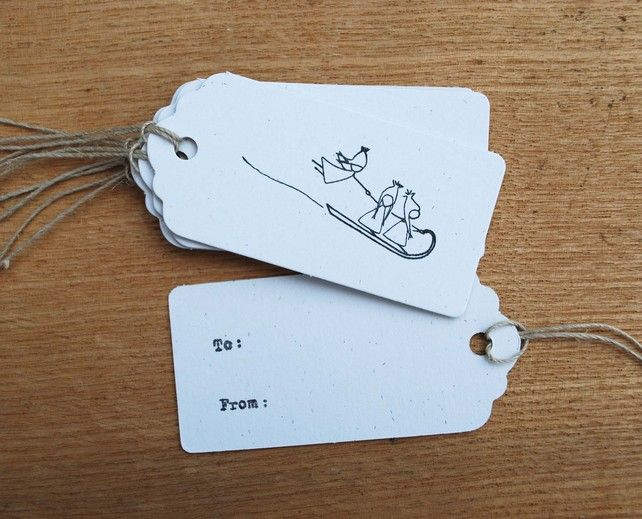 Christmas Gift Tags, Recycled gift tags set of 6, sledging in the snow £3.50
