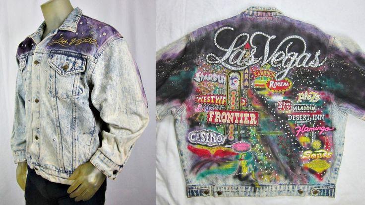 Tony Alamo Rare Las Vegas Strip Denim Jacket Hand Painted Bejewled & Studded L #TonyAlamoofNashville