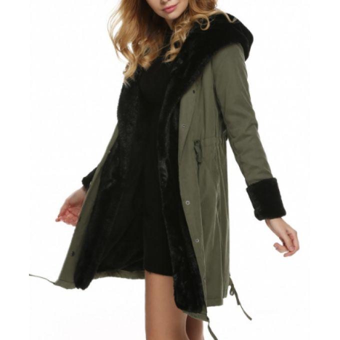 Long manteau à capuche intérieur fourré - bestyle29.com