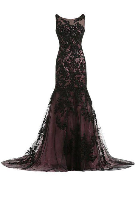 Sunvary Vintage Black Lace Applique Mermaid Mother of the Bride Dresses Long US Size 2- Black