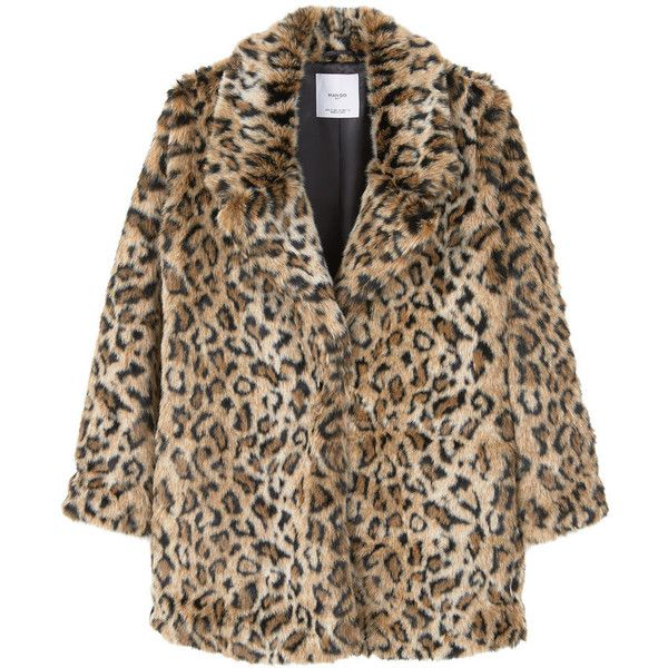 MANGO Leopard Faux-Fur Coat ($200) ❤ liked on Polyvore featuring outerwear, coats, fake fur lined coats, long sleeve coat, brown coat, imitation fur coats and brown faux fur coat
