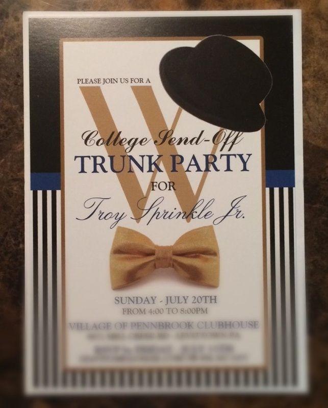 graduation college send off trunk party invitation invitations