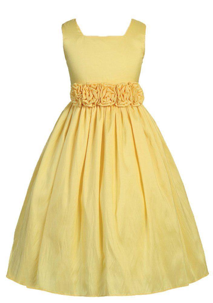 $46 - Amazon.com: Sweet Kids Big Girls' Sleeveless Flower Girl Dress with Rolled Flower Waistband: Clothing