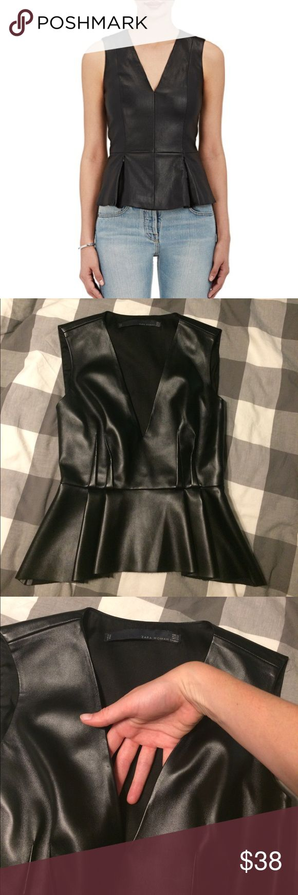Zara faux leather peplum top size XS v neck Deep v sexy top by Zara women. Pleats in the front and back, zippers up the side. Small scuff at the front by the bust as shown in photo and fraying at the hem. Hardly worn. Zara Tops Tank Tops