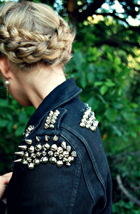 feminine braids + punky studs