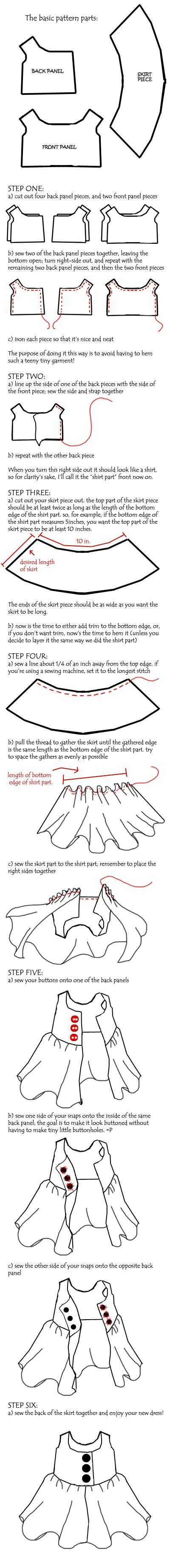Plushie Dress Tutorial by ~onetruetree on deviantART Waldorf doll dress, top. How to sew pattern.
