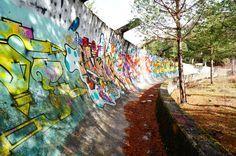 Sarajevo 1984 Winter Olympics bobsleigh grafi on walls