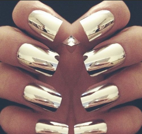 Chrome nails. You can get this look with Nail Rock Metallic Nail Wraps.