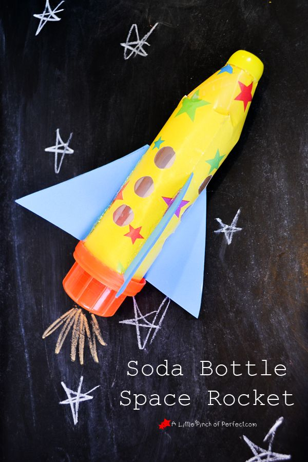 Soda bottle space rocket made out of recycled supplies for What is outer space made of