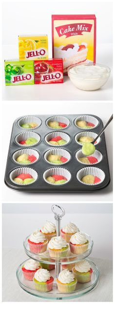 Tie-dye Fruity Cupcakes #recipe: Where lemon, lime and strawberry collide for tasty, funky and cool cupcakes.