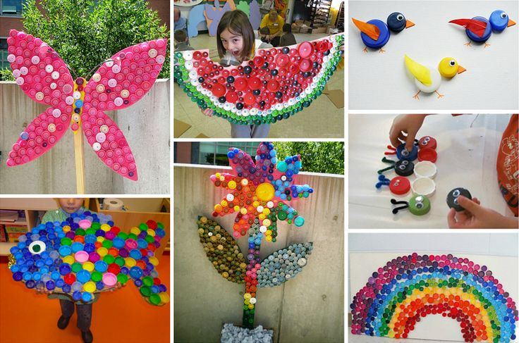 Поделки из пробок от пластиковых бутылок (48 фото): мозаика, коврики, авоськи http://happymodern.ru/podelki-iz-probok-ot-plastikovykh-butylok-mozaika-kovriki-avoski/ Поделки из пробок от пластиковых бутылок. Мозаики и игрушки из крышек пластиковых бутылок - неплохой способ развлечь детей