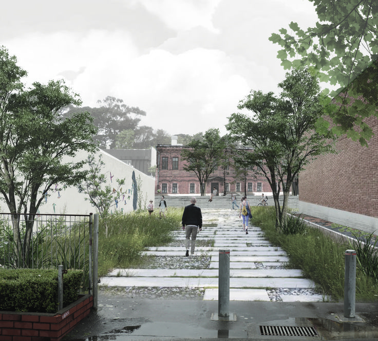 Landscape Architecture ideas for Drummond Street, bordering on Adelaide Road envisioning a shared public/private backyard