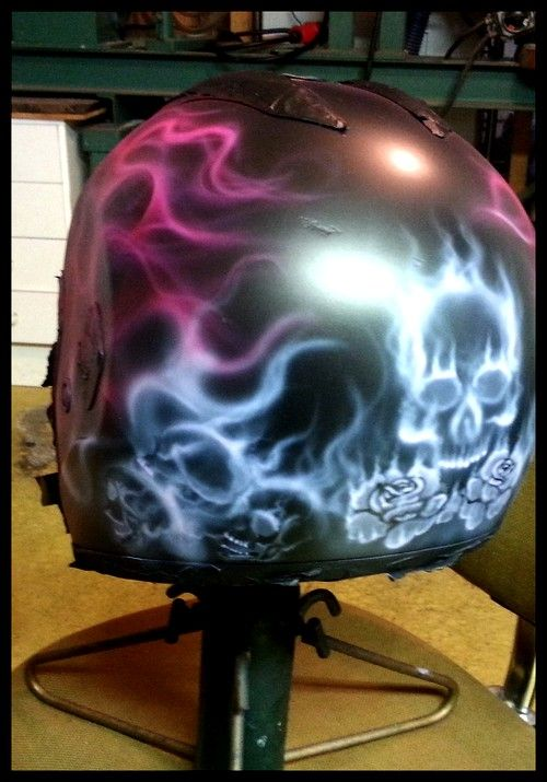 Helmet, airbrush, work in progress, skulls and roses