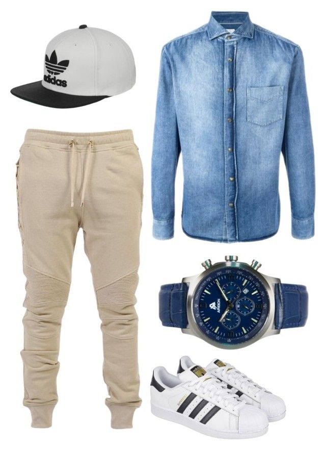 Heeey by bye18 on Polyvore featuring polyvore Brunello Cucinelli Balmain adidas men's fashion menswear clothing