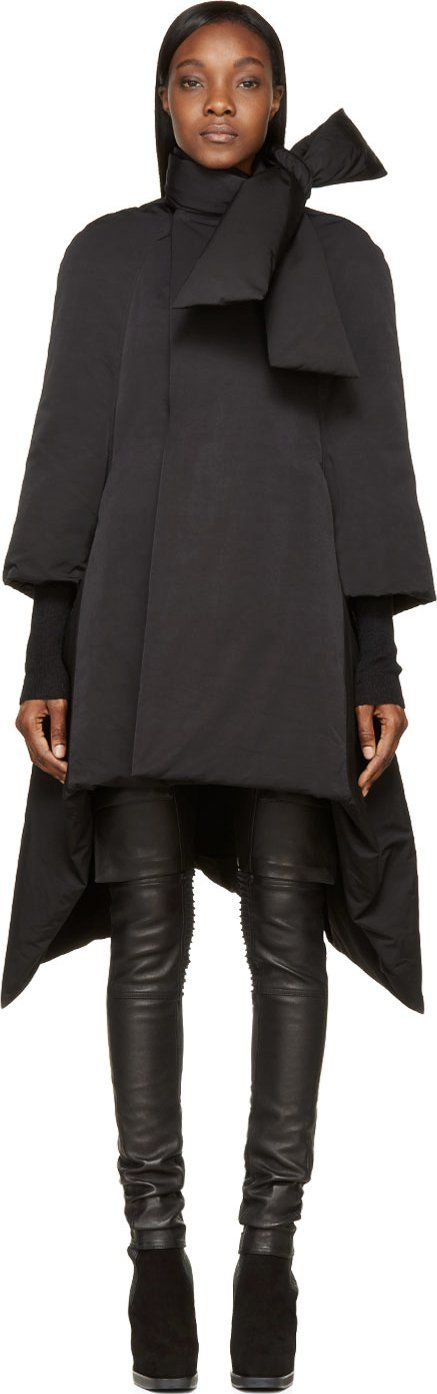 Rick Owens - Black Flared Duvet Scarf Coat - $2465 @ssense.com