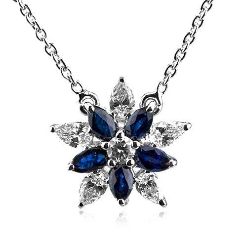 Lant cu pandantiv din safire si diamante C418 #bijuterii #coriolan #pandantive #safire