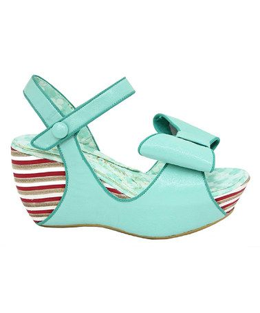 Take a look at this Mint Lo Ryder Wedge Sandal by Irregular Choice on #zulily today!