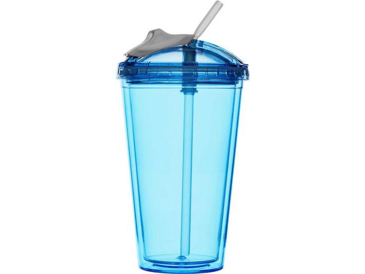 Dvojstěnný plastový hrnek - uzávěr - včetně brčka - obsah 0,45L