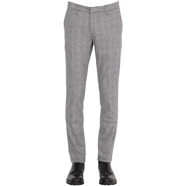 Sei3sei Men 17cm Soft Prince Of Wales Chino Pants ($145) ❤ liked on Polyvore featuring men's fashion, men's clothing, men's pants, men's casual pants, blue, mens chino pants, mens chinos pants, mens blue chino pants, mens blue pants and mens pants