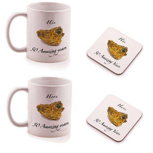 Ukgiftbox - Set regalo di 2 sottobicchieri e 2 tazze per lui e per lei, anniversario nozze d'oro