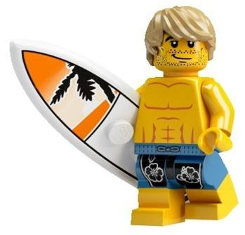 Surfer LEGO Figure   The surfer is a series 2 minifig and comes with removable hair and surfboard with a palm tree design. The surfer is wearing blue swim shorts.   Year: 2010