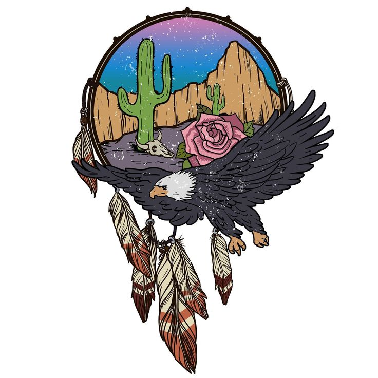 Here's one commissioned illustration for a T-shirt prints. Eagle-dreamcatcher. Illustrator  Photoshop