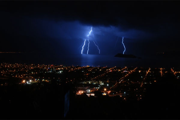 Lightning taken from Maungaraki Hill, Lower Hutt.
