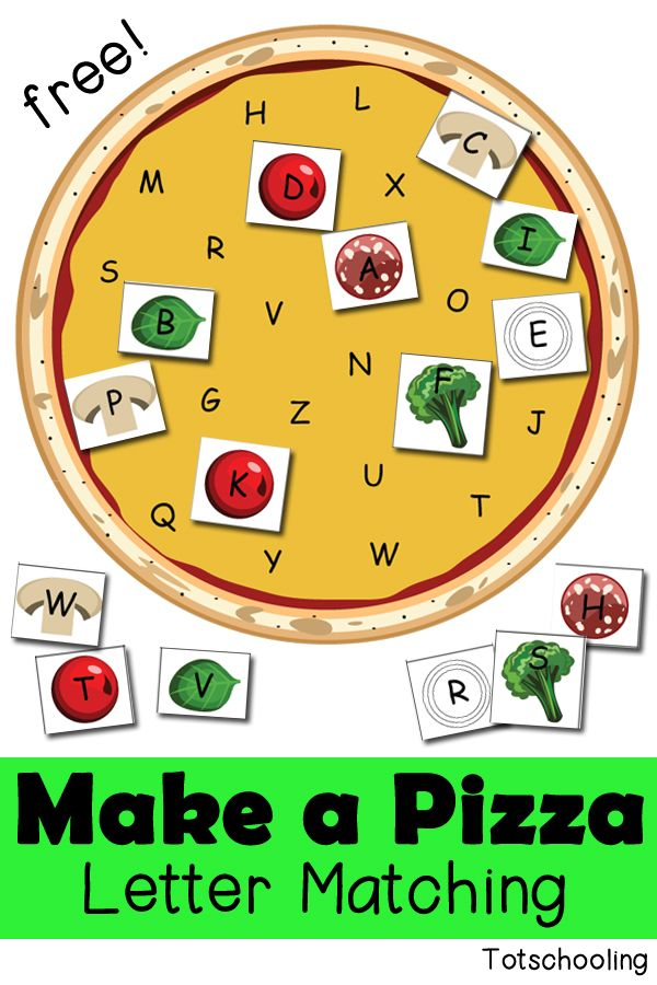 Kids can make a pizza while practicing letter recognition with this FREE pizza letter matching activity printable from Totschooling. It comes with both upp