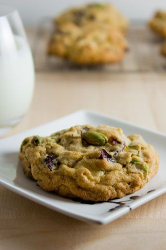 cranberry, pistachio, white chocolate oatmeal cookies