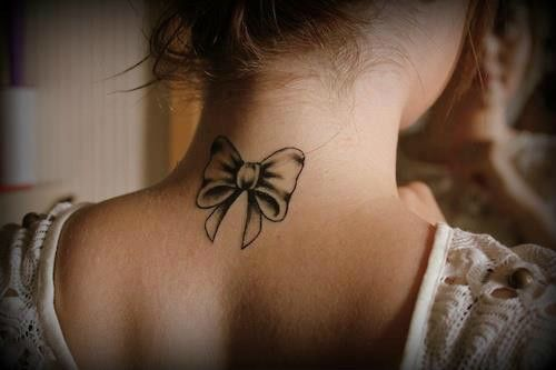 back of the neck tattoo - bow @Via Sherman