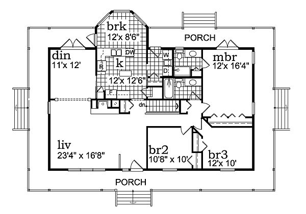 Plan 88448sh porch wraps all around house plans for House plans with porch all the way around