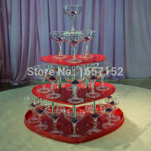 ==> [Free Shipping] Buy Best Wedding champagne tower three tiers heart-shaped red wine tower festive party supplies Online with LOWEST Price | 32269347616