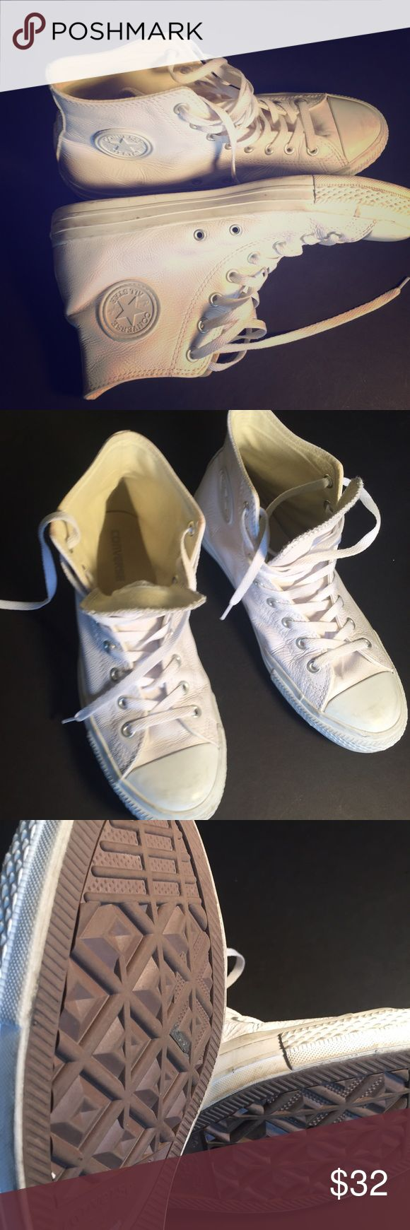 All White Chucks The authentic All Star Chuck Taylor Converse Classics. EUC, white on white. Some minor toe scuffs makes them even more appealing. Top rated seller, usually same day shipment, 4.9/5 star rated. Converse Shoes Sneakers