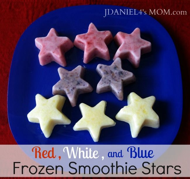 Red, White & Blue Frozen Smoothie Stars for your 4th of July party from JDaniel4'smom.com on Come Together Kids blog.: Food, Red White Blue, Healthy, Smoothie Stars, Snacks, Frozen Smoothie, Kids, Blue Frozen