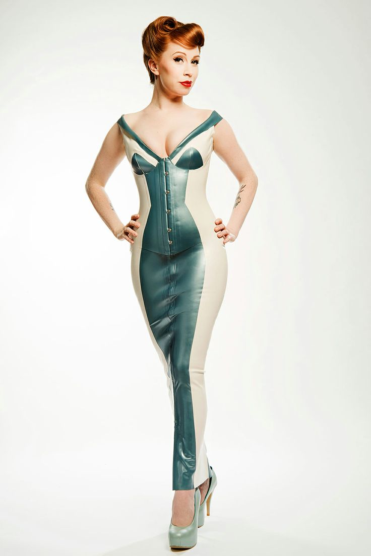 New! PEACHIE Bum-Out Long Gown with Integral Corset. Model: Alex Sim-Wise. Photograph © Ester Segarra. Shoes: Natacha Marro. PEACHIE is an Exclusive House of Harlot Design By Robin Archer.  http://www.houseofharlot.com/PEACHIE-CORSETED-LATEX-RUBBER-GOWN.html