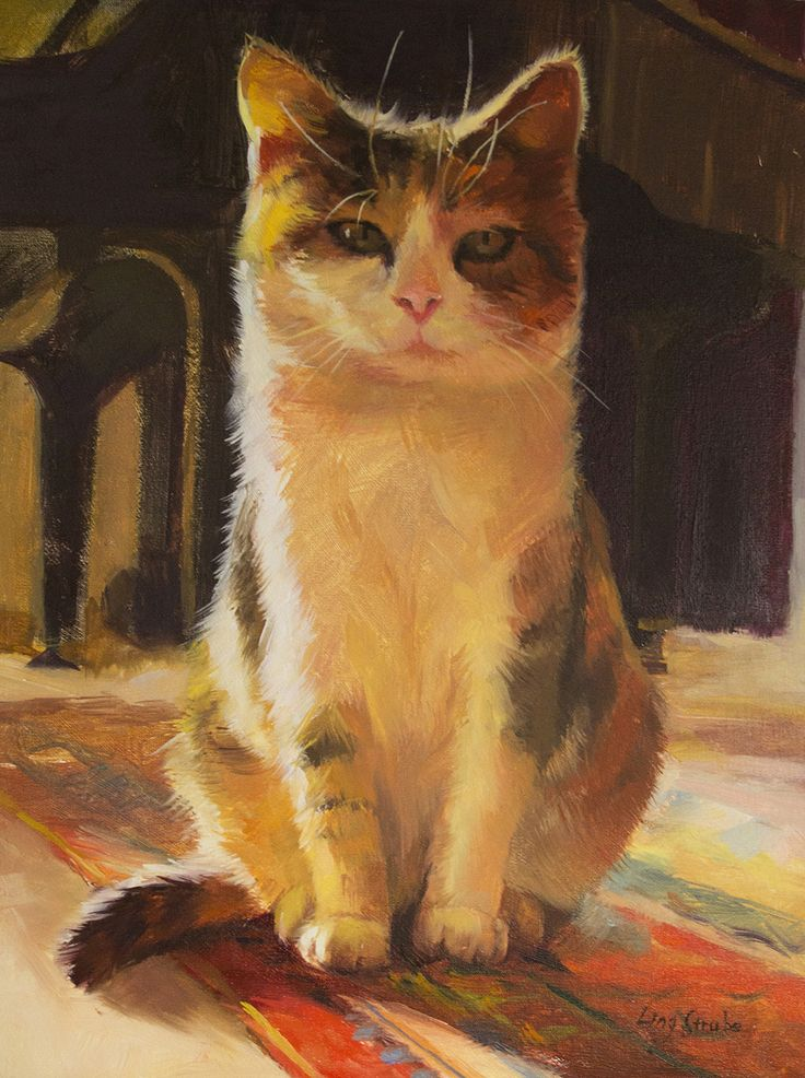 FineArtSeen.com - View I am the Queen by Ling Strube. An original painting of a cat under $500.